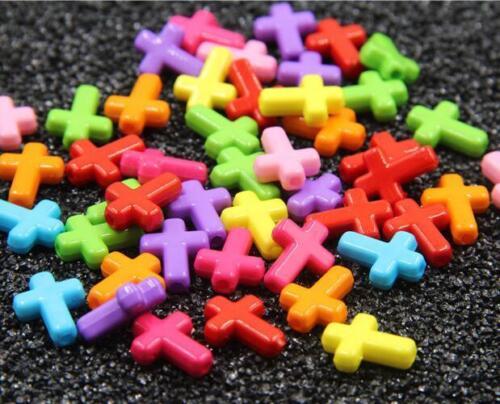 100X Mixed Color Acrylique Croix Perles À faire soi-même Baby Pacifier Clip Collier Accessoires