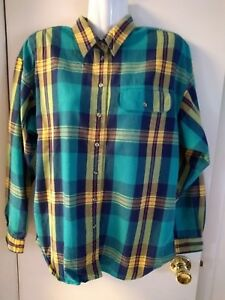 Vintage Womens 80s Lizwear Green Blue Yellow Red Plaid Button Down ... 20b1a0301
