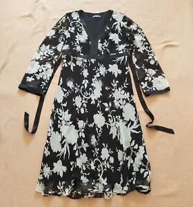 Austin Reed Black White Monochrome Floral 100 Silk Dress Long Sleeves Uk 14 Ebay