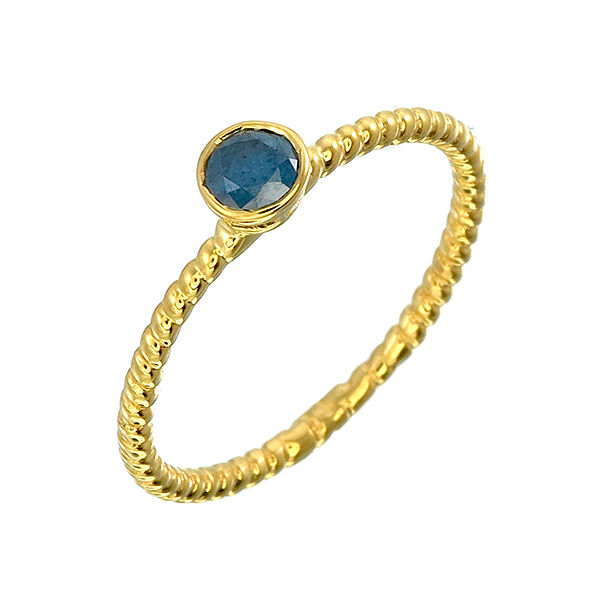 bluee Natural Diamonds Ring 4.0 mm 9k gold 1.27 g Size 7.5.