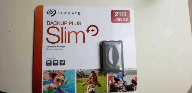 Seagate Backup Plus Slim 2tb Portable Storage External Hard Drive Black USB 3