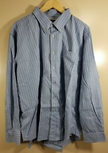 7b18b9f456 Details about James Tattersall Men's Long Sleeve Button Front Shirt Striped  Size XXL Blue