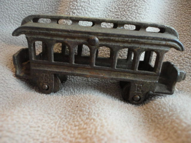 Cast Iron Toy Train Car E F Vintage Excellent Condition USA