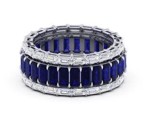 4ct-Emerald-Cut-Blue-Sapphire-Diamond-Eternity-Band-Ring-14k-White-Gold-Finish