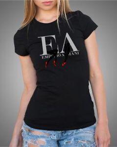 Emporio-Armani-Womens-Black-T-shirt-Round-neck-Size-S-M