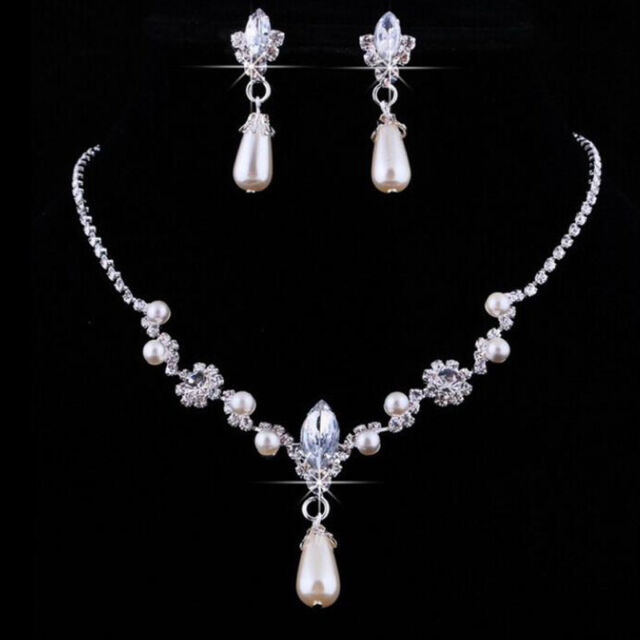 Faux Pearl Rhinestone Necklace Water Drop Earrings Jewelry Sets