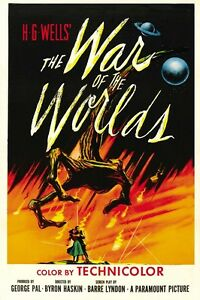 WAR OF THE WORLDS CLASSIC  H G WELLS SCIENCE FICTION A3 FILM POSTER REPRINT