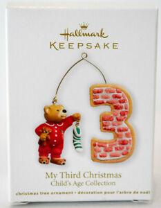 Hallmark-My-Third-Christmas-Bear-amp-Stocking-Child-039-s-Age-Collection-Ornament