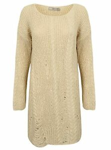 New Ex Asos Cream Jumper Dress In Cable Knit With Ladder Stitch Rrp