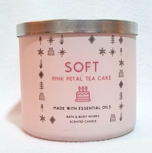 PINK PETAL TEA CAKE Large 3-Wick Filled Candle ROSE 1 Bath /& Body Works SOFT