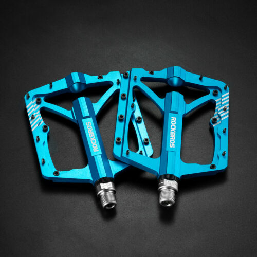 "RockBros Wide Bike Bicycle Pedals CNC Aluminum Alloy Sealed Bearing 9//16/"" Blue"