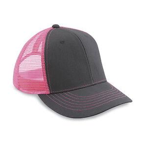 591d8740 1 Dozen (12) Blank Twill/Mesh Trucker Hats Neon Pink / Charcoal ...