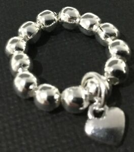 SILVER-ball-stretch-RING-with-tibetan-HEART-charm-boho-Bijoux