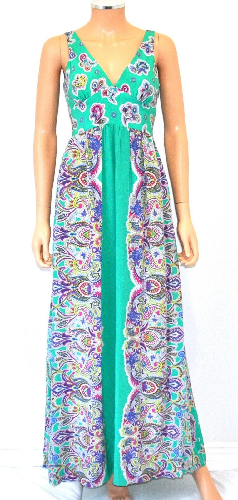 TIBI Floral Paisley 100% Silk Sleeveless Long Maxi Dress - Sz 4, SMALL