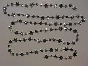 Girlande-Silber-Sterne-Dekoration-270-cm-Top-Qualitaet-Weihnachten-Deko-Neu