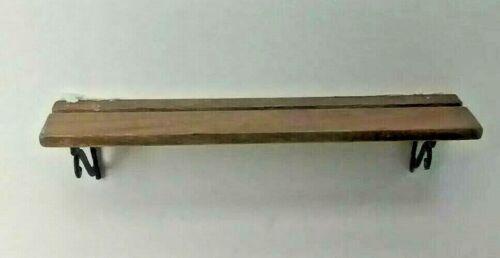 "Dollhouse Miniature 3/""  Cherry Wood Shelf with Wrought Iron Brackets 1:12 scale"