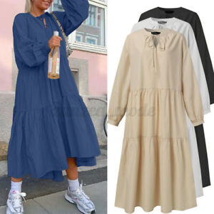 Frauen-Langarm-Oversize-laessig-lockere-Tiered-Layered-Solid-Kaftan-Pumphose-Kleid
