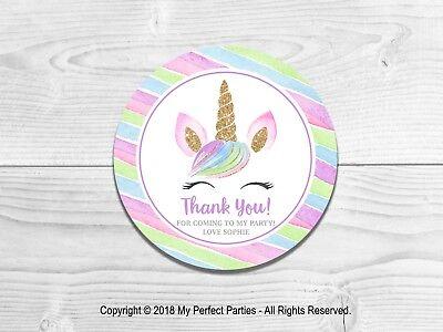 Lindo fiesta de cumpleaños 35 Personalizado Unicornio Pegatinas gracias Sellos 3