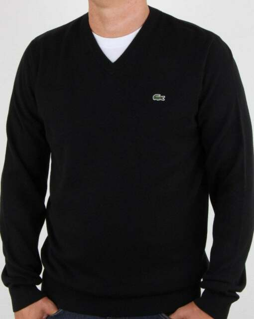 Lacoste Men/'s V Neck Cotton Jersey Sweater Green Croc Size XL Stone Chine Gray