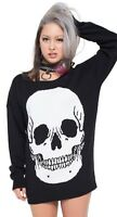 Women's Iron Fist Skullz Club Sweater Black Punk Goth