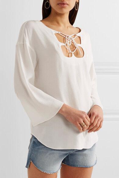 NEW FRAME. MirrGoldt lace-up crepe top- (CURRENT) Weiß Größe M   T643