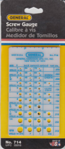 General Tools 714 Quick Check Screw Gauge MADE IN USA