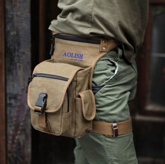 Men's Brown Vintage Canvas Messenger Fanny Waist Hiking Pack bag 333