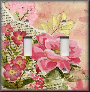 Light Switch Plate Cover Pink Flowers Shabby Chic Home