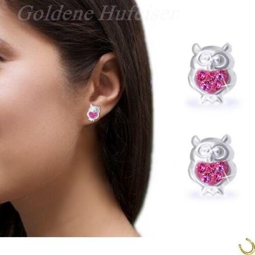 Pink Kristall Eule Kuckuck Kinder Ohrstecker 925 Echt Silber Vogel Ohrringe