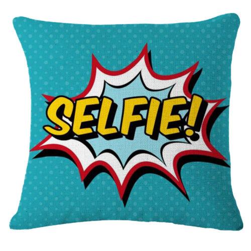 Lettre Imprimé Animal Taie d/'Oreiller Lin Coton Sofa Cushion Cover Home Decor USA