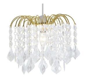 Clear Acrylic Crystal Tear Droplet Gold Frame 4 Tier Chandelier Ceiling Shade Pendant