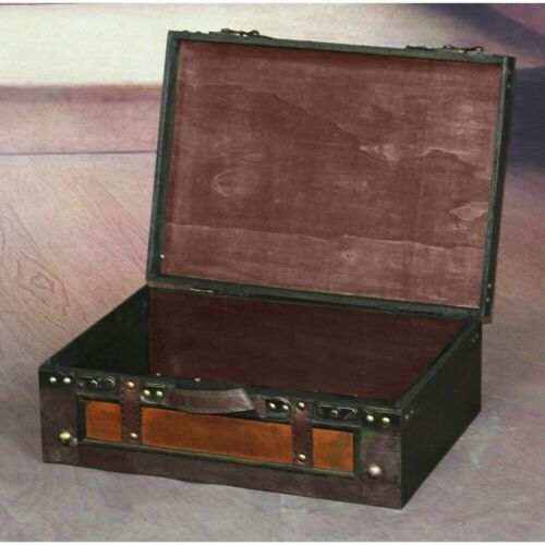 Steamer Trunk Suitcase Stripes Old Fashioned Luggage Leather Antique Storage