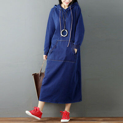 S-5XL ZANZEA Women Hoodies Sweatshirt Denim Look Casual Long Shirt Dress Kaftan