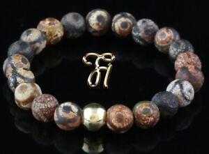 Tibet-Achat-925er-sterling-Silber-vergoldet-Armband-Bracelet-Perlenarmband-braun