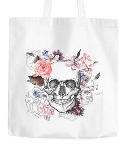 Jutebeutel-Totenkopf-Blumen-Flower-Skull-Boho-Schaedel-Baumwolltasche