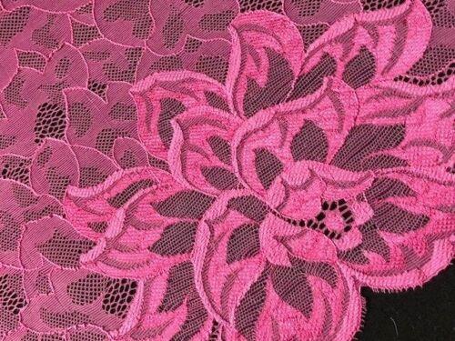 "laverslace Beautiful /'Dare Me/' Pink Wide Stretch Tulle Lace Trim 9/""//22.5cm"