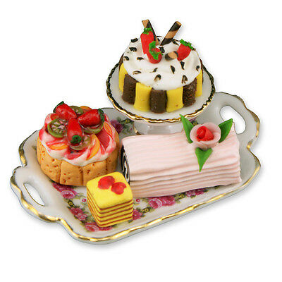 Reutter Porzellan Kuchentablett Fancy Pastries On Tray Dollhouse 1:12 1.650/5 Dolls & Bears