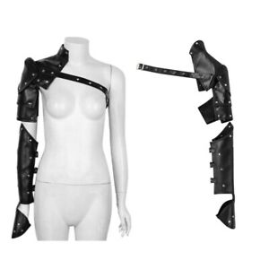 Gothic-Punk-rivetti-in-metallo-armature-di-spalla-con-tracolla-Braccio-Set-Regolabile-Cosplay