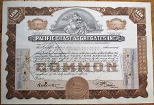 'Pacific Coast Aggregates, Inc.' 1943 Stock Certificate - Brown