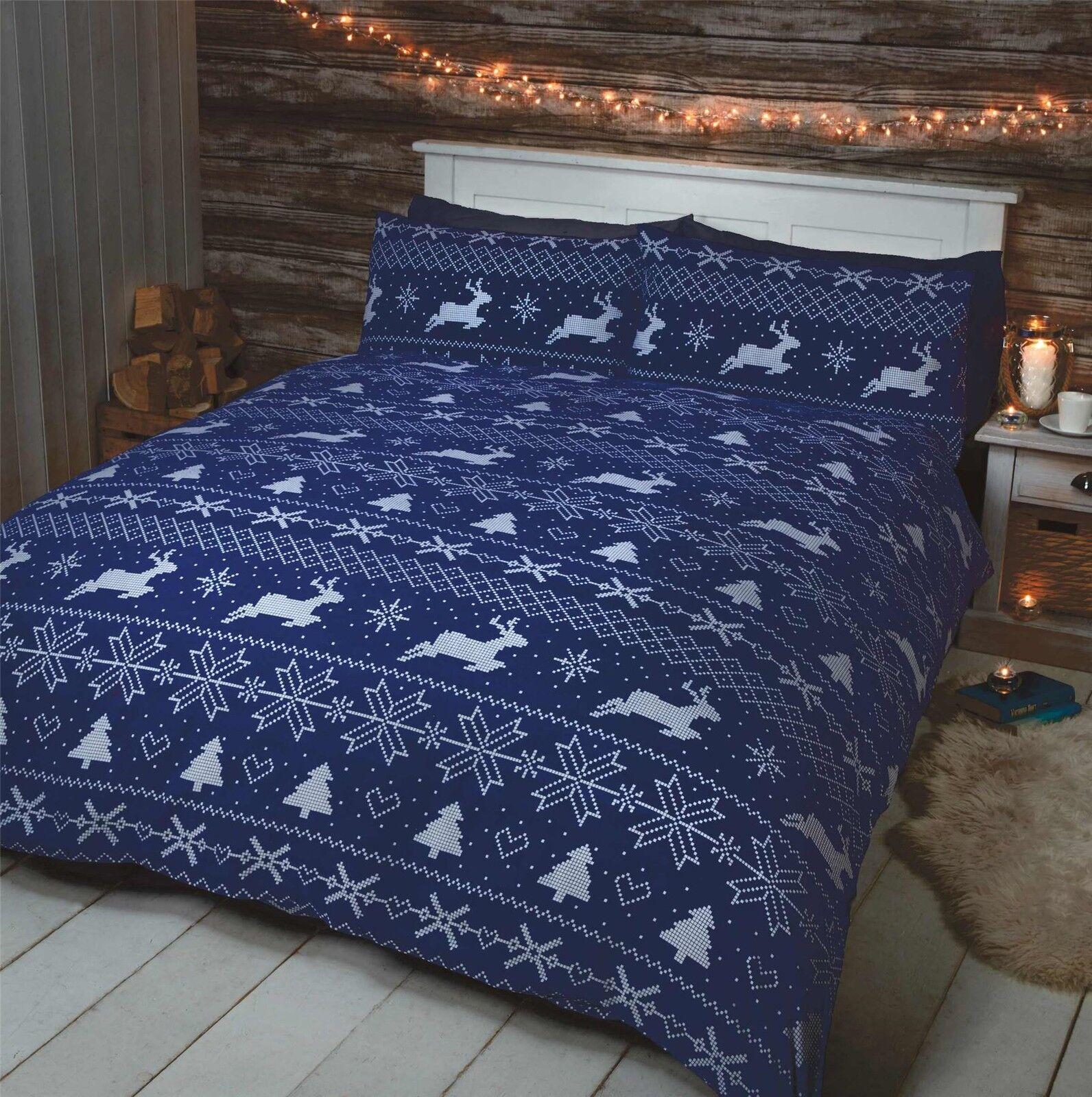 NORDIC CHRISTMAS REINDEER NAVY blueE WHITE 100% BRUSHED SUPER KING DUVET COVER