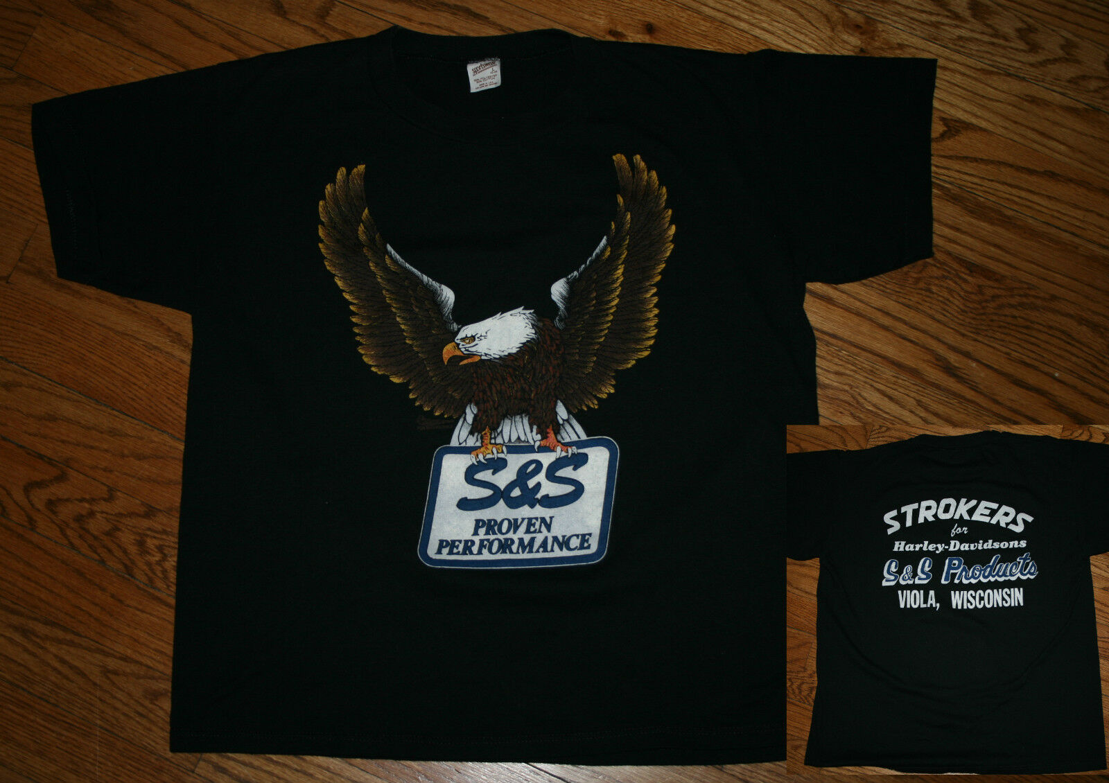 Harley Davidson 1987 Eagle STROKERS S&S Products Performance T-Shirt Men Large