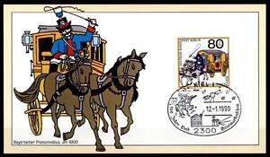 Chevaux. Postomnibus En Bavière (1900). Carte Spéciale. Sost. Kiel. Brd 1990-afficher Le Titre D'origine