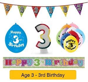 Age 3 Happy 3rd Fête D'anniversaire Ballons, Banderoles Insignes Bougies & Décorations-afficher Le Titre D'origine