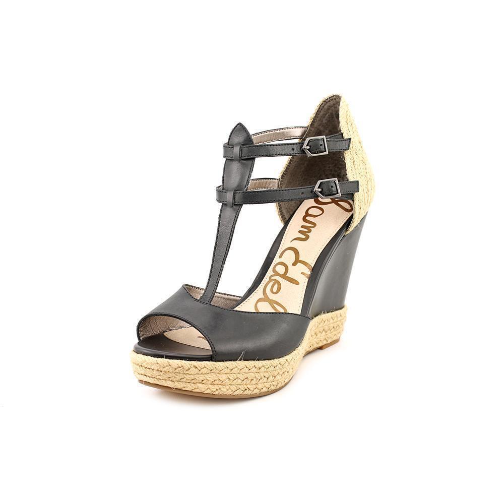 Sam Edelman Women's Katarina Size 10 M Black Leather Wedge Sandals Shoes