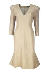 ALEXANDER-MCQUEEN-Women-039-s-Fitted-Fish-Tail-Gold-Glitter-Dress-42