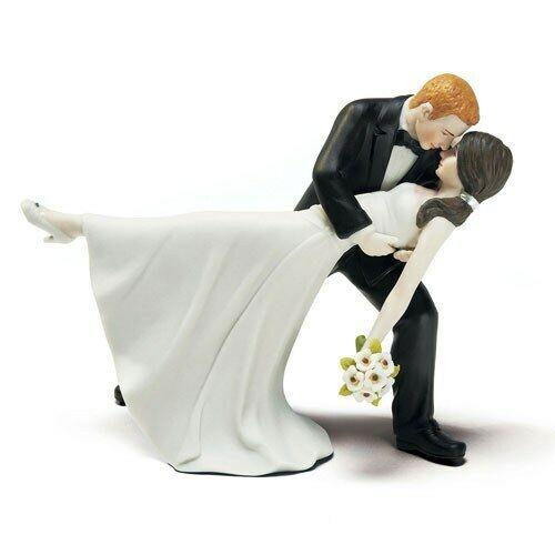 Mariage Gateau Peint à la Main Porcelaine Dansant Mariée et Marié Romantique