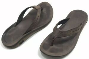 Chaco-Women-039-s-Brown-Leather-Slip-On-Flip-Flops-Sandals-Size-8