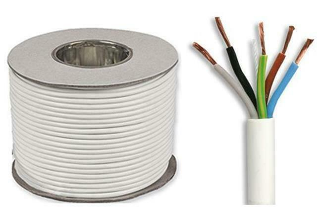 White 0.75mm 5 Core 3095Y Round Heat Resistant Flexible Cable flex 10m to 100m