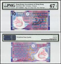Hong Kong 10 Dollars, 2014, P-401d, UNC, Polymer, PMG 67 EPQ