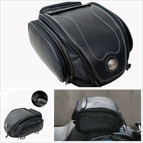 1x Waterproof Black PU Leather Motorcycle ATV Scooter Rear Seat Luggage Tail Bag